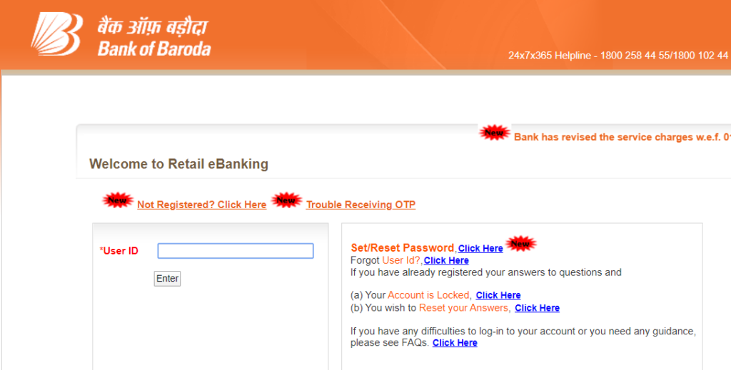 bank of baroda net banking login