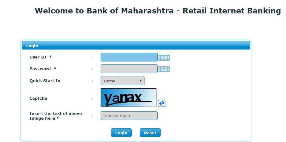 BOM net banking login for retail banking