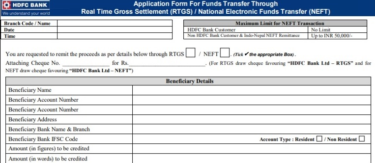 Beneficiary Details in HDFC RTGS Form