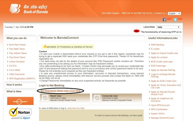 bank of baroda net banking new registration