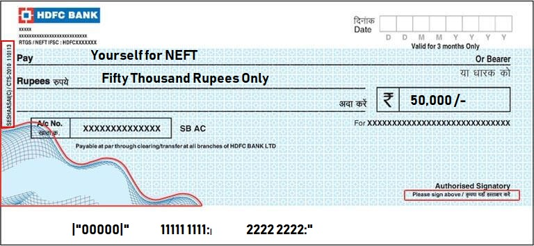 HDFC NEFT sample filled cheque