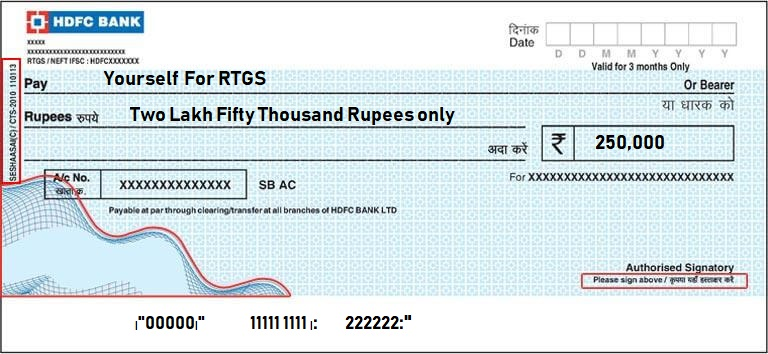 HDFC cheque filled for RTGS