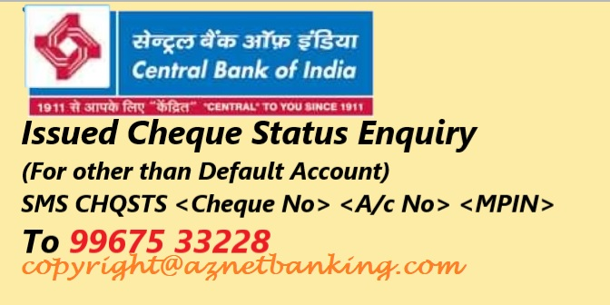 cheque status enquiry other than default account