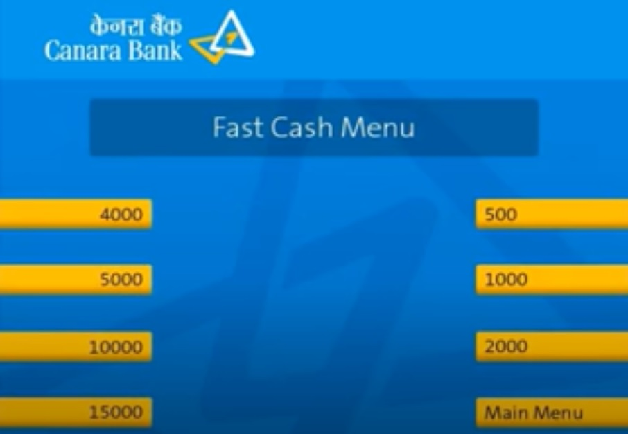 canara bank atm screen