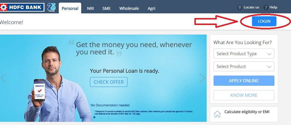 HDFC bank Net Banking Registration, Login, Password for Retail Users