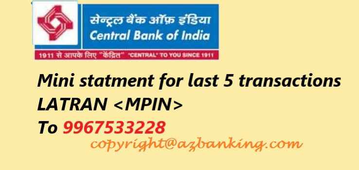 Central Bank of India SMS for mini statement