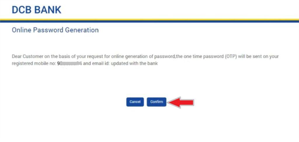 dcb internet banking password generation