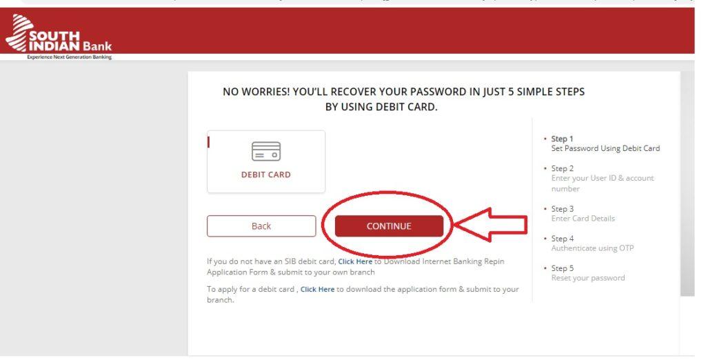 password reset using debit card