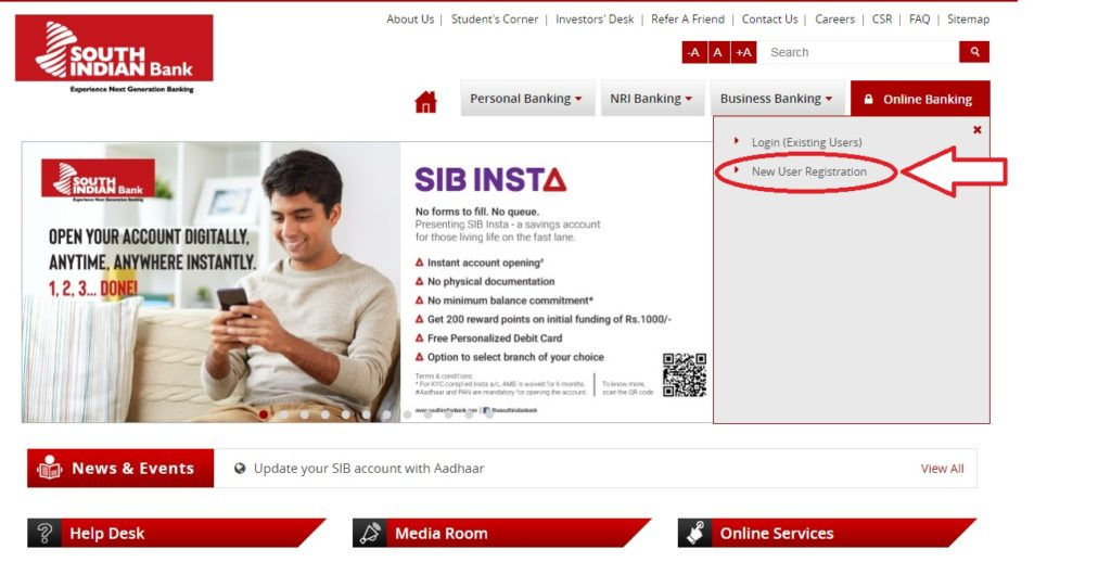 south-Indian-bank-net-banking-New Registration