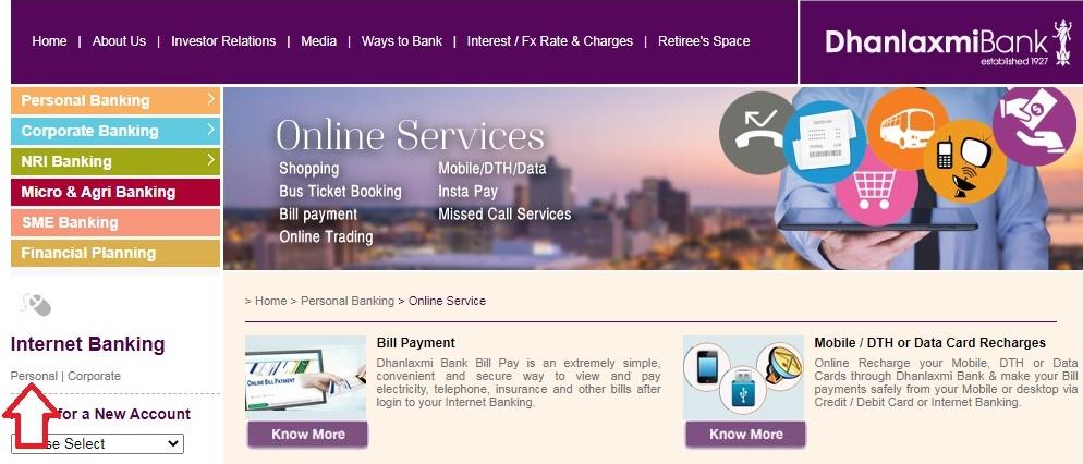 dhanlakshmi bank internet banking