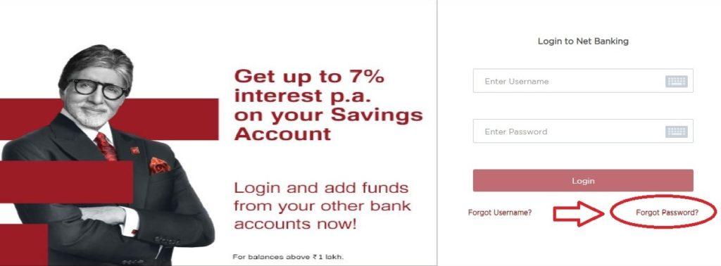 net banking password reset