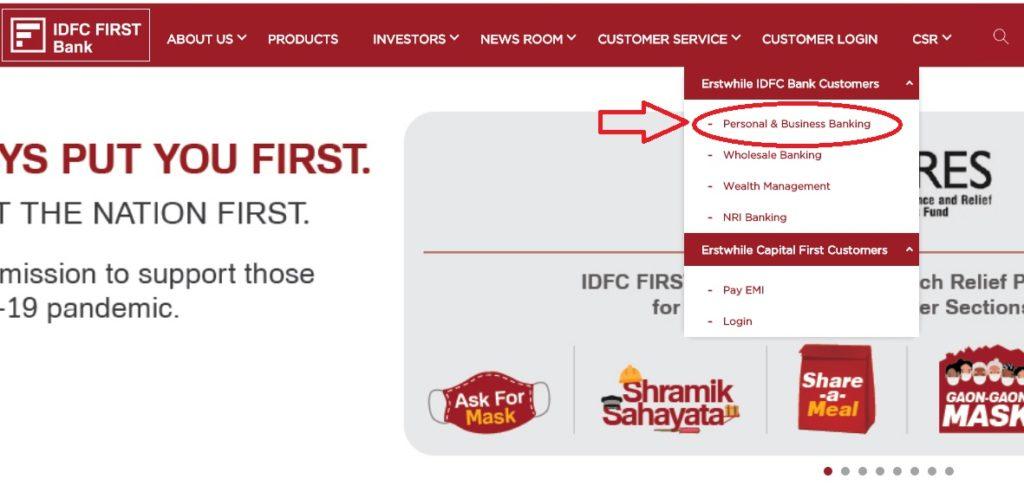 idfc bank net banking login link