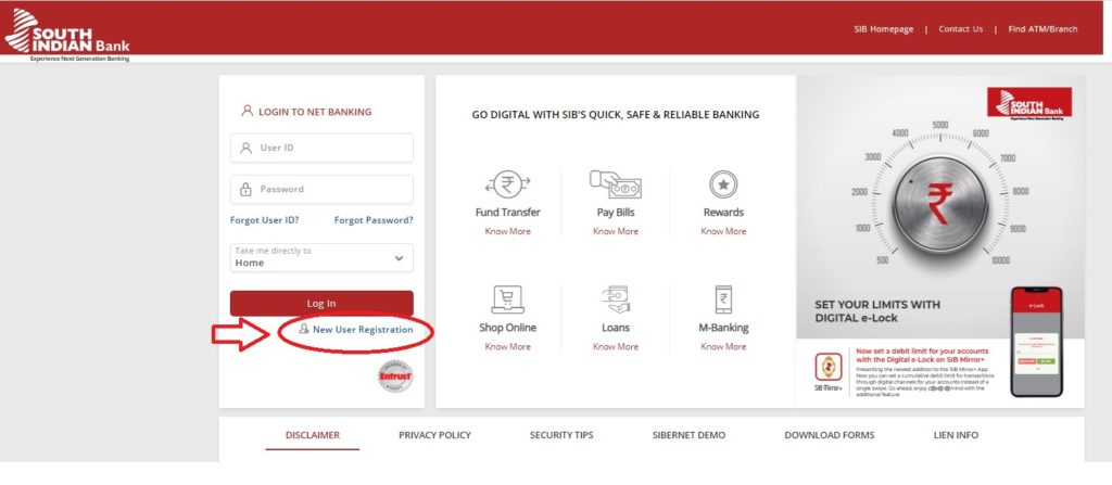 south-Indian-bank-net-banking-New-User-registration