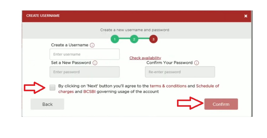 enter username and password for net banking registration
