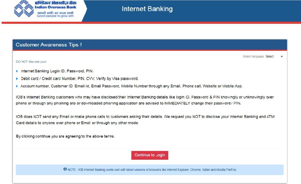 Indian overseas bank net banking continue login