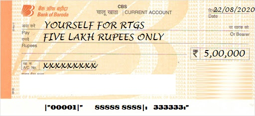 bob rtgs sample filled cheque
